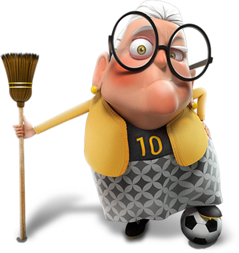 La Futbolera is a grump old lady who knows everything about Futbol!